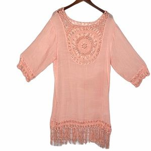Beach By Exist Boho Fringe Crochet Cover Up Coral